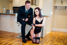 Luxurious dark brown Lea Guerlin has perverted hookup with her lascivious fellow.
