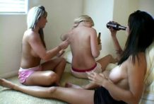 Sultry exgirlfriend whore Jessie receives large knockers rubbed by her lesbo mates