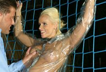 Deviant German girl in a raincoat receives screwed mad