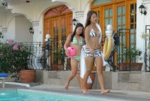 2 concupiscent Filipina sisters share white manstick jointly