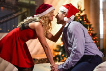 Golden-haired hottie in xmas clothing rails rock hard jizz-shotgun in act pin