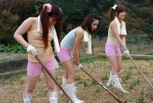 Fascinating women are having pleasure in the countryside