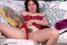 Rose Vermillion flaunts and strokes her wooly beaver