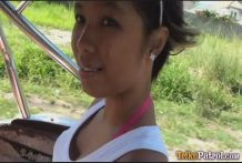 Black-skinned Filipina female Trixie picked up by foreigner driving Trike himself