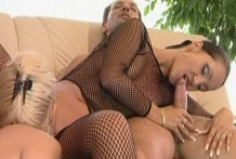 2 hawt youthful lesbos in fishnets sharing a massive manmeat