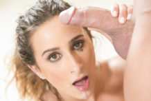 Large tittied floozy Ashley Adams guzzles a rock hard prickster.