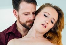 Congenital redhead Sabrina takes Billy in her throat & fuckbox