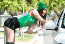 Pepper XO celebrates St. Patrick's Day by blowing & pummeling.