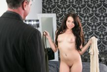 Megan Sage kindly copulates her exotic step dad's large chubby man sausage.