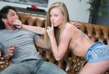 Nicole Clitman taunts her step dad into her hairless snatch.