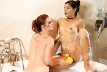 Lustful Katya plays with ducky in the bathroom with stepmom Karlie