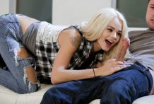 Stunning small stunner Elsa Jean receives reamed by a large knob