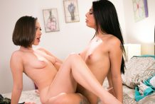 Cuties Gina V. and Jenna Sativa smashing vigorously!