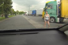 Real WHORE Picked up Betwixt Trucks and Receive Paid for Hookup