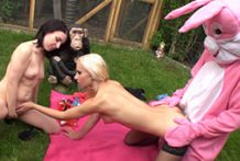 Bunny receives to penetrate 2 hawt inexperienced ladies outdoor