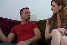 Big-titted redhead receives her vulva fucked and creampied