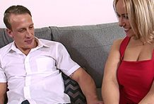 Curvaceous golden-haired wifey loves being banged by her husband