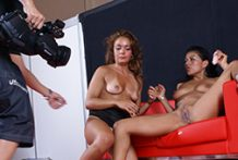 Lustful lesbos loves nasty plowing with strap dildo