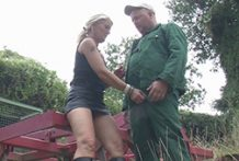 Housewife giving farmers a palm