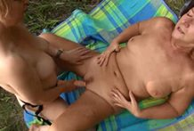 Lesbo housewives pound outdoor