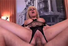 Ideal jugs golden-haired pounded