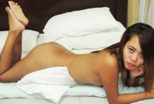 Skinny tattooed Pinay throats white dick and receives facial