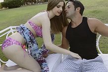 Lustful dark brown receives banged in a 3some