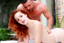 Hawt redhead Amarna receives turned on by carnal rubdown