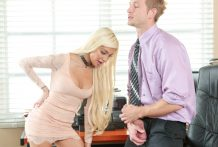 Golden-haired teenage Elizabeth Jolie pumelled in the office by large sausage