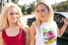 Stunning blondes Carter Cruise & Elsa Jean have a laugh in mattress.