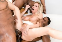 Peter North provides Nadia North a BBC gangbang w/ DP as a present