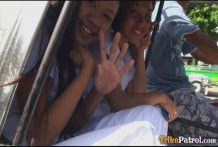 Two attractive Filipina nurses give particular care to fortunate male vacationer